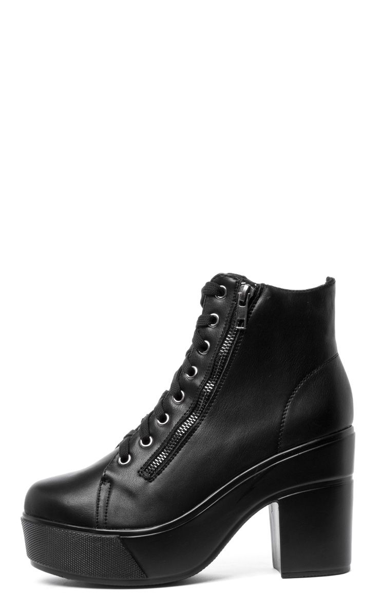 Mila Black Lace Up Boot  1