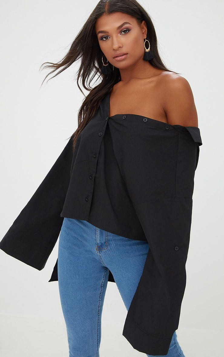 Black Oversized Off Shoulder Shirt