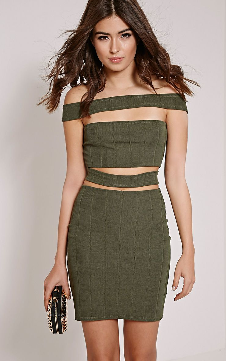 Morgan Khaki Bandage Cut Out Mini Dress 1