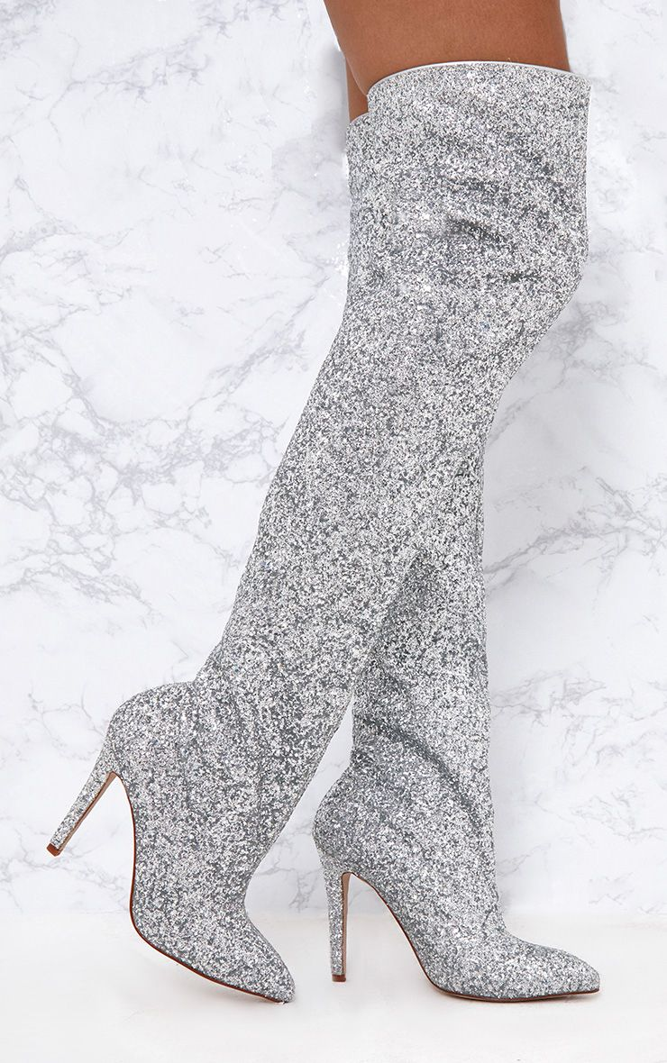 Silver Glitter Slouch Thigh High Boots. Shoes ...