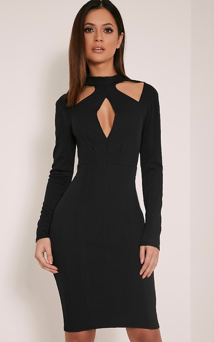 Stephanie Black Long Sleeve Cut Out Bandage Dress 1