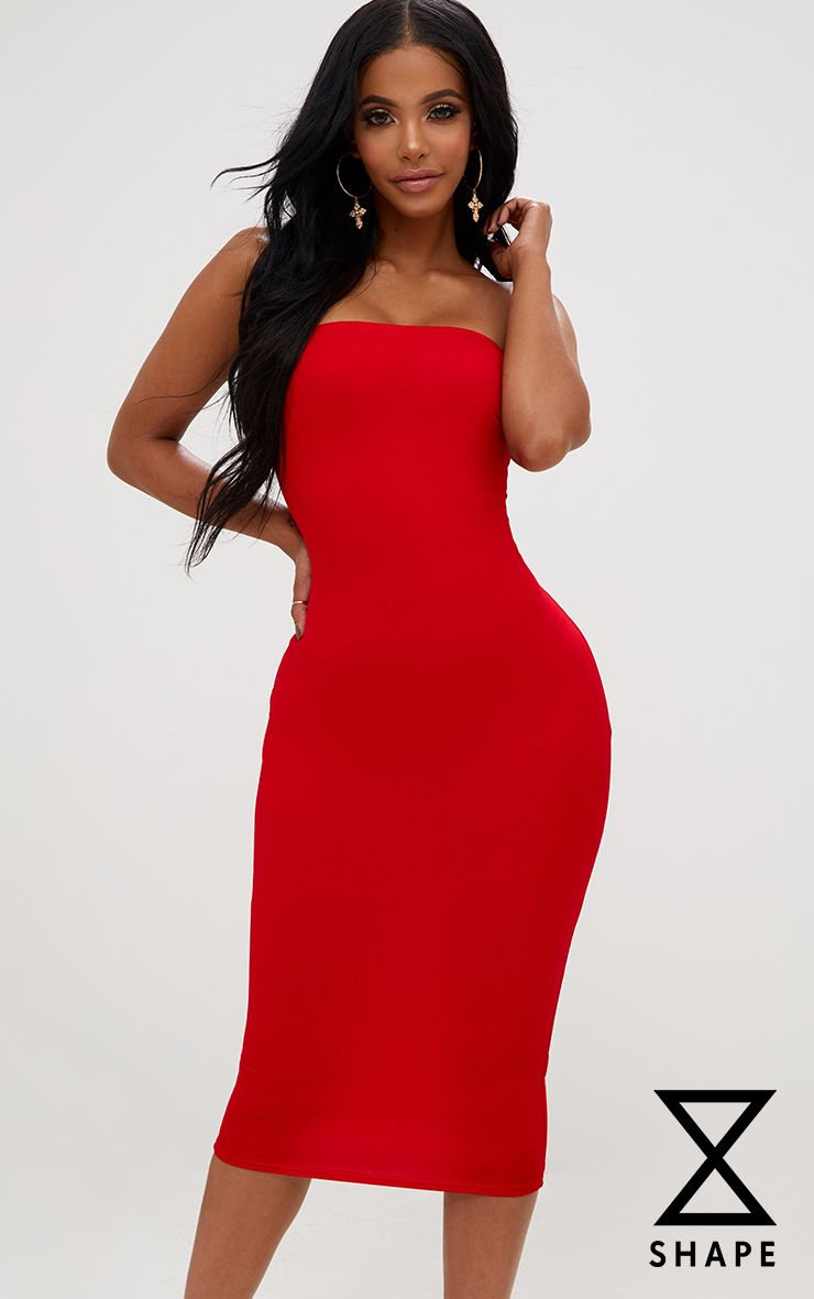 Shape Red Bandeau Dress
