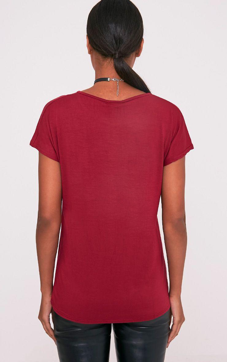 Basic t-shirt surdimensionné à col rond sang de bœuf 3