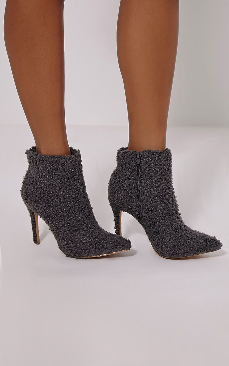 Harper Grey Faux Wool Ankle Boots 1