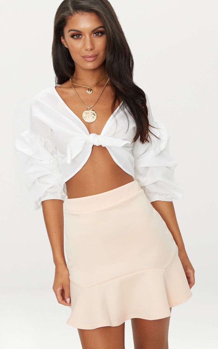 Nude Flippy Hem Mini Skirt