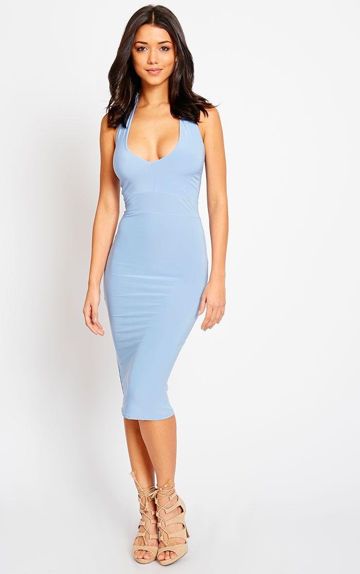 Lilly Powder Blue Slinky Halterneck Midi Dress 1