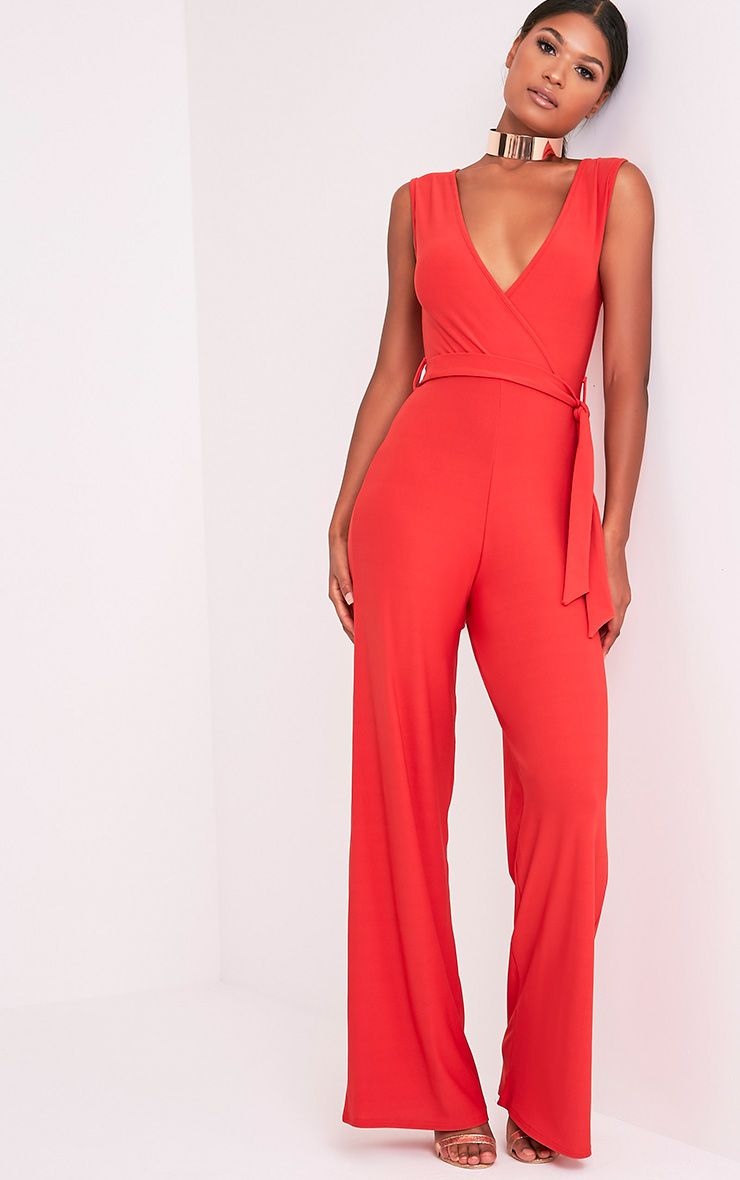 Harriet Red Wrap Detail Tie Waist Jumpsuit (POPPY)