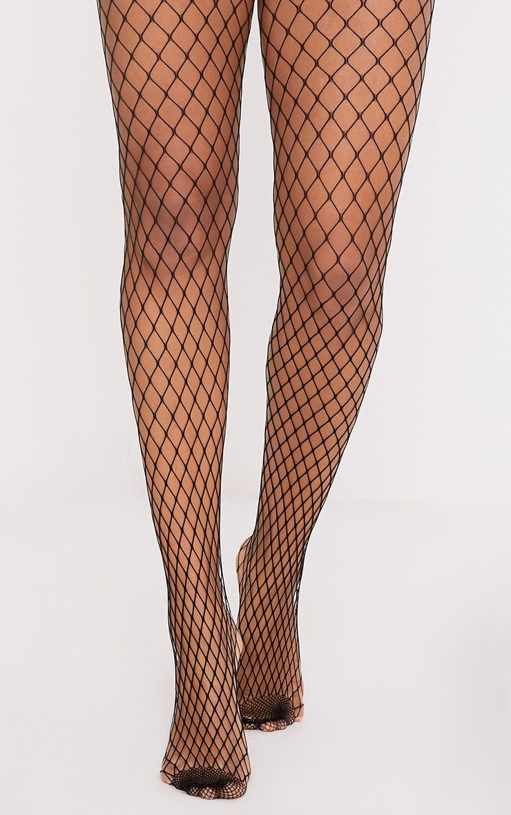 Kelsie Black Medium Net Fishnet Tights
