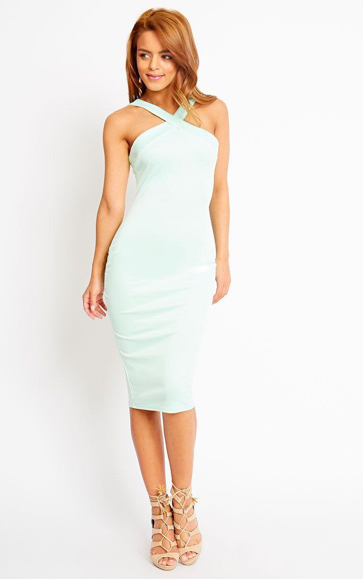 Melanie Mint Cross Front Midi Dress 1