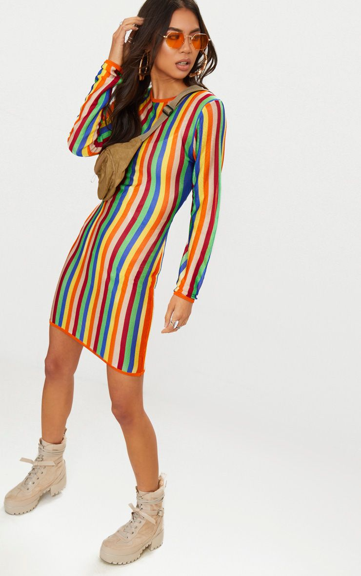 Multi Rainbow Sheer Knitted Dress