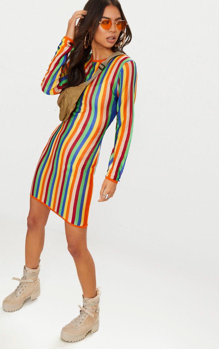 Robe fine à rayures multicolores