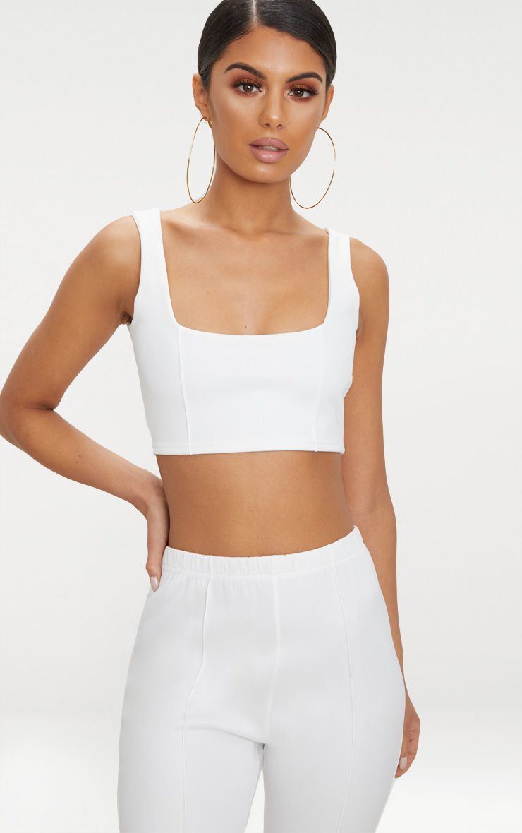 Cream Square Neck Zip Back Crop Top