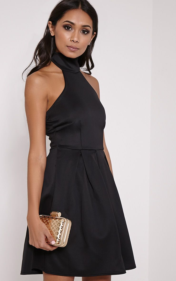 Madeline Black Halterneck Box Pleat Skater Dress 1
