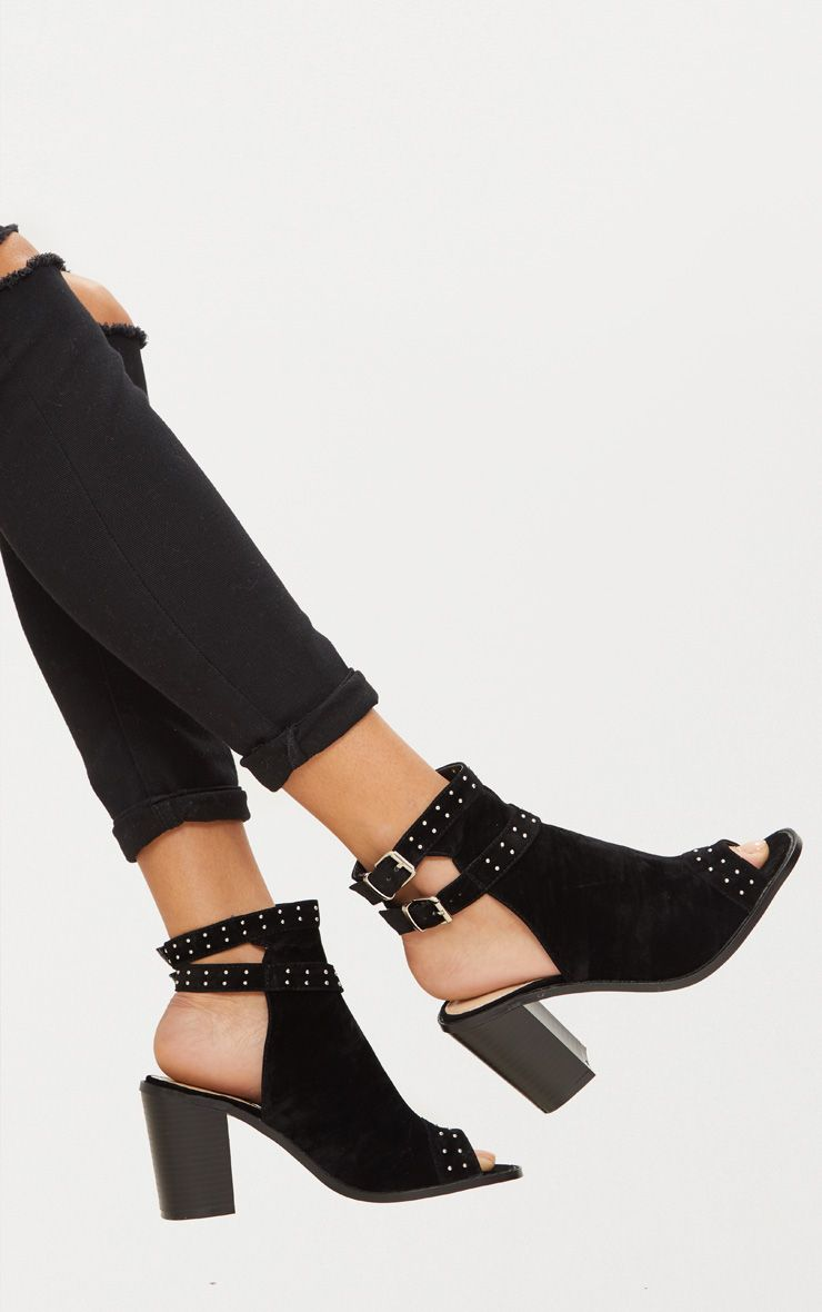 Black Buckle Cut Out Block Heel Ankle Boots