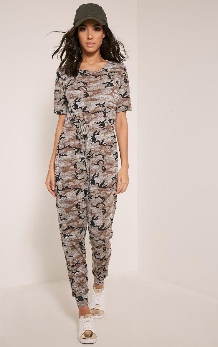 Kelsah Taupe Camouflage Casual Jumpsuit