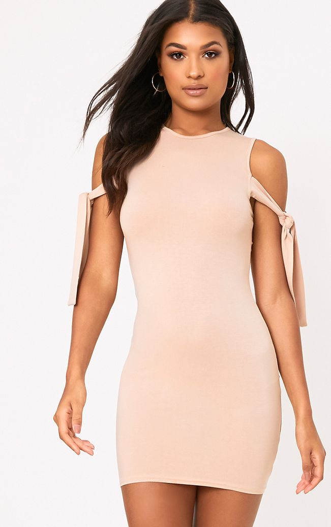 Nude Tie Sleeve Bodycon Dress