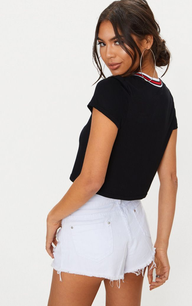 Shop For Cheap Price Cheap Latest White Embroidered Cherry Tape Detail Crop T Shirt Pretty Little Thing Cheap Sale Shopping Online Sale Extremely Discount Really iY4iA5OWu