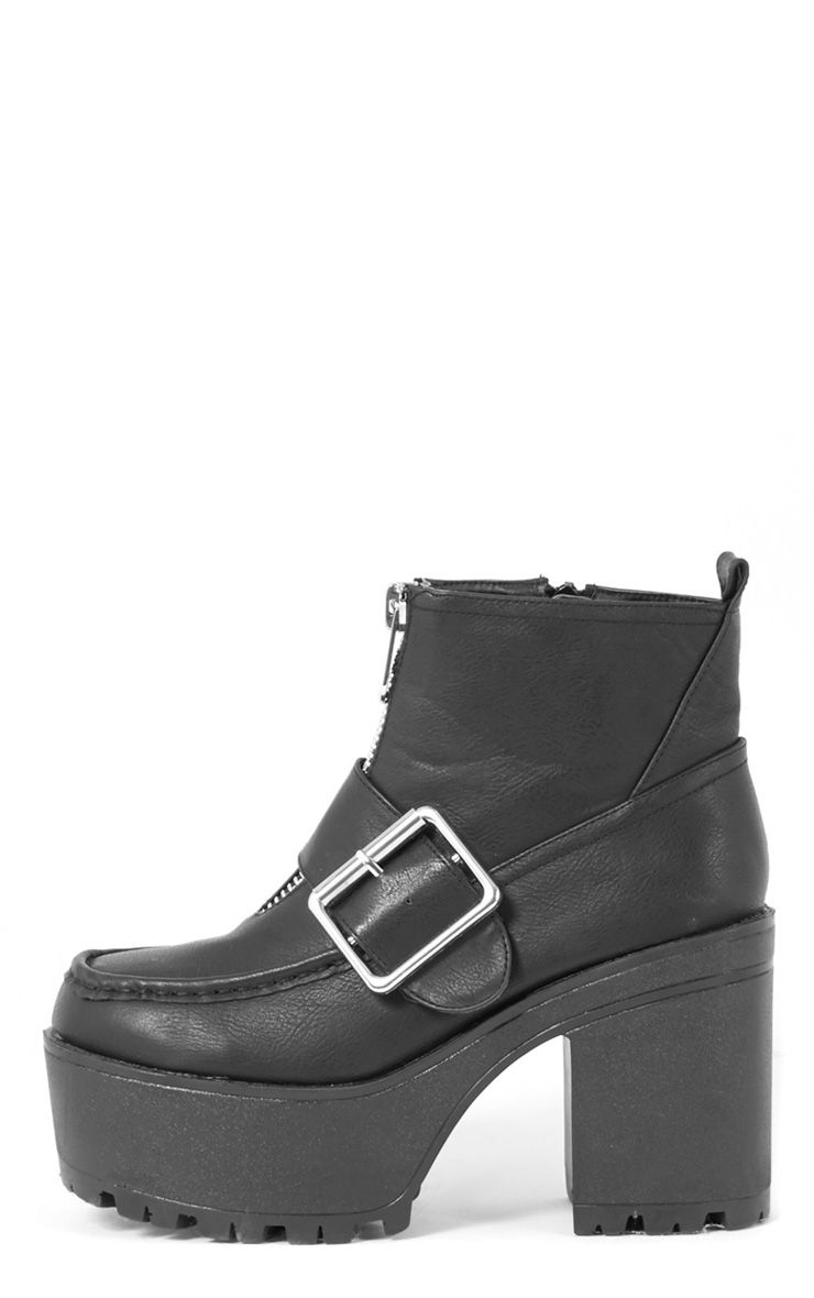 Tanja Black Buckle Zip Up Chunky Boot  1