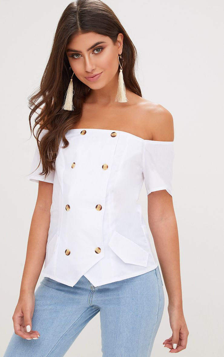 White Bardot Safari Shirt