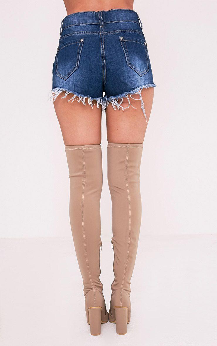 Elana mini short en jean déchiré délavage moyen 5