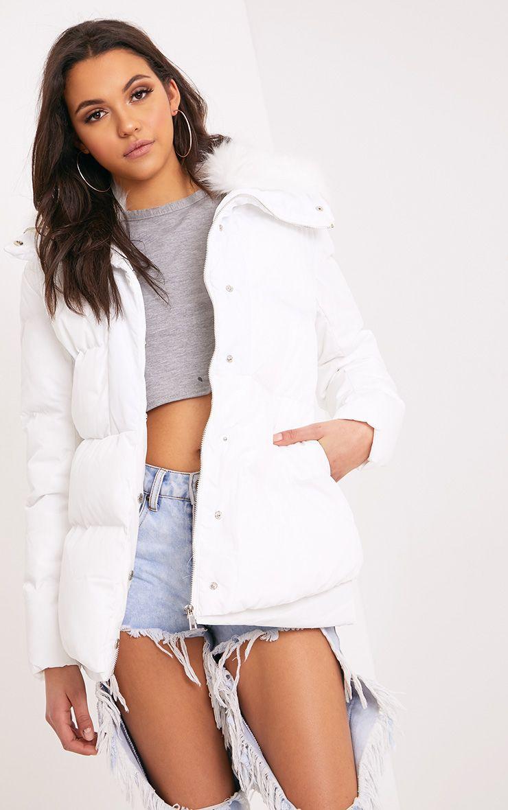 Merah White Faux Fur Collar Puffer Jacket 1