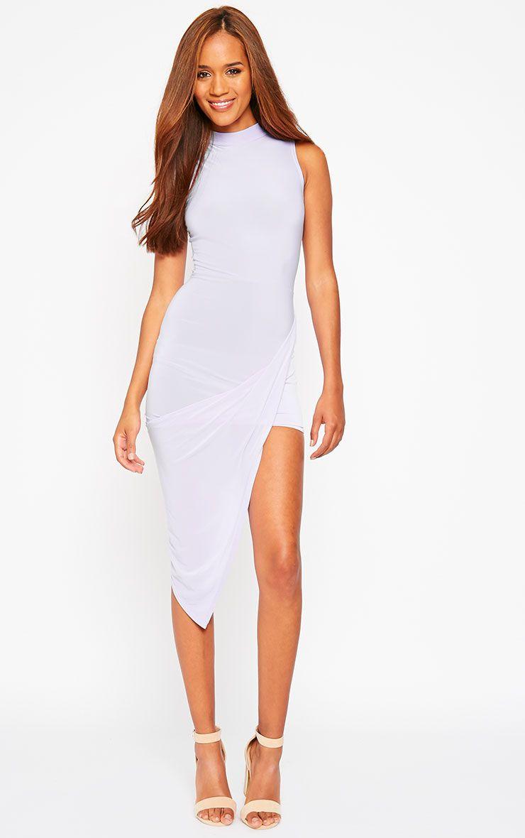 Prim Lilac Slinky Drape Asymmetric Dress 1