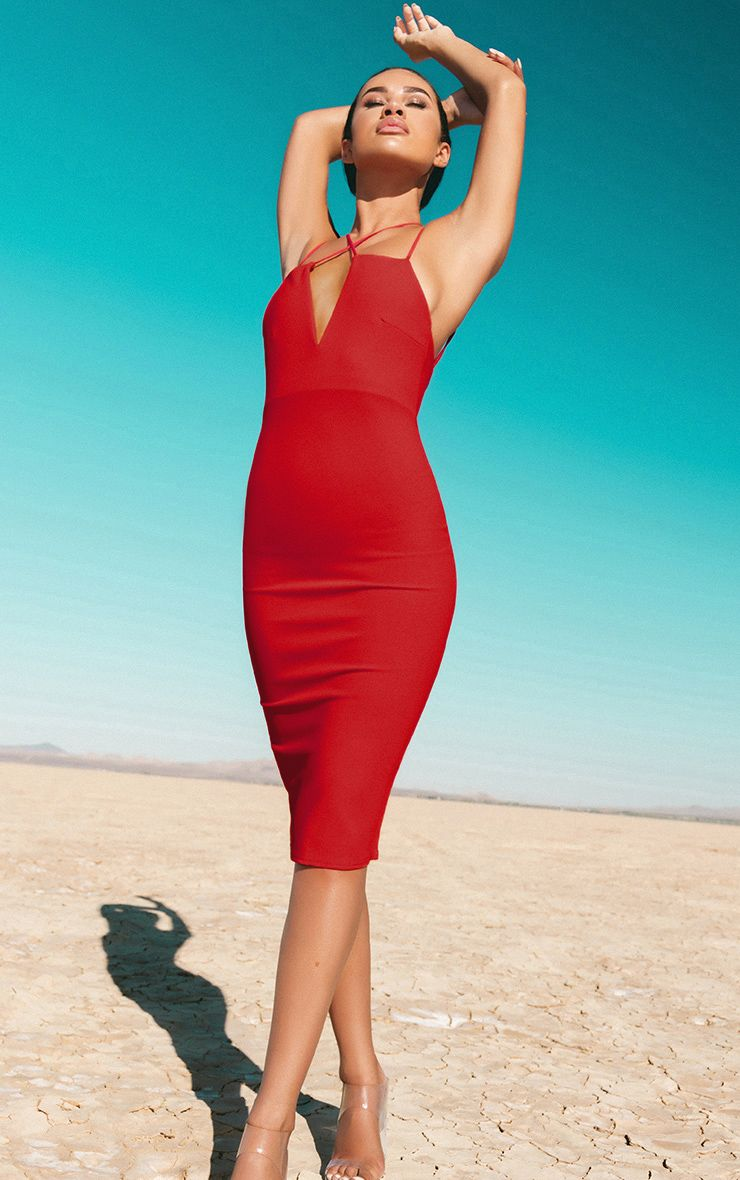 Red Cross Front Strappy Back Plunge Front Midi Dress