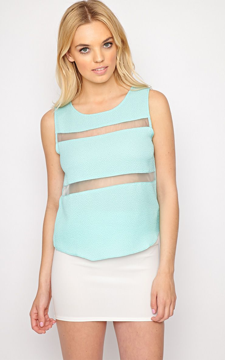 Adrianne Mint Mesh Stripe Top  1