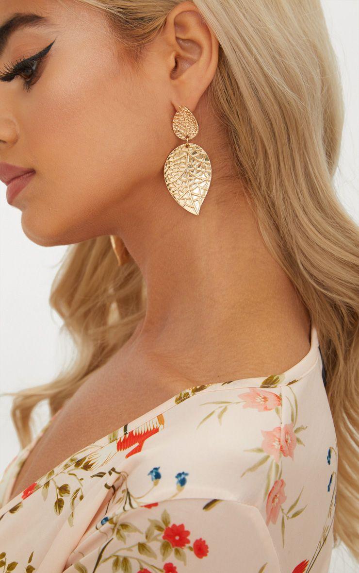 Gold Leaf Detail Earrings 1