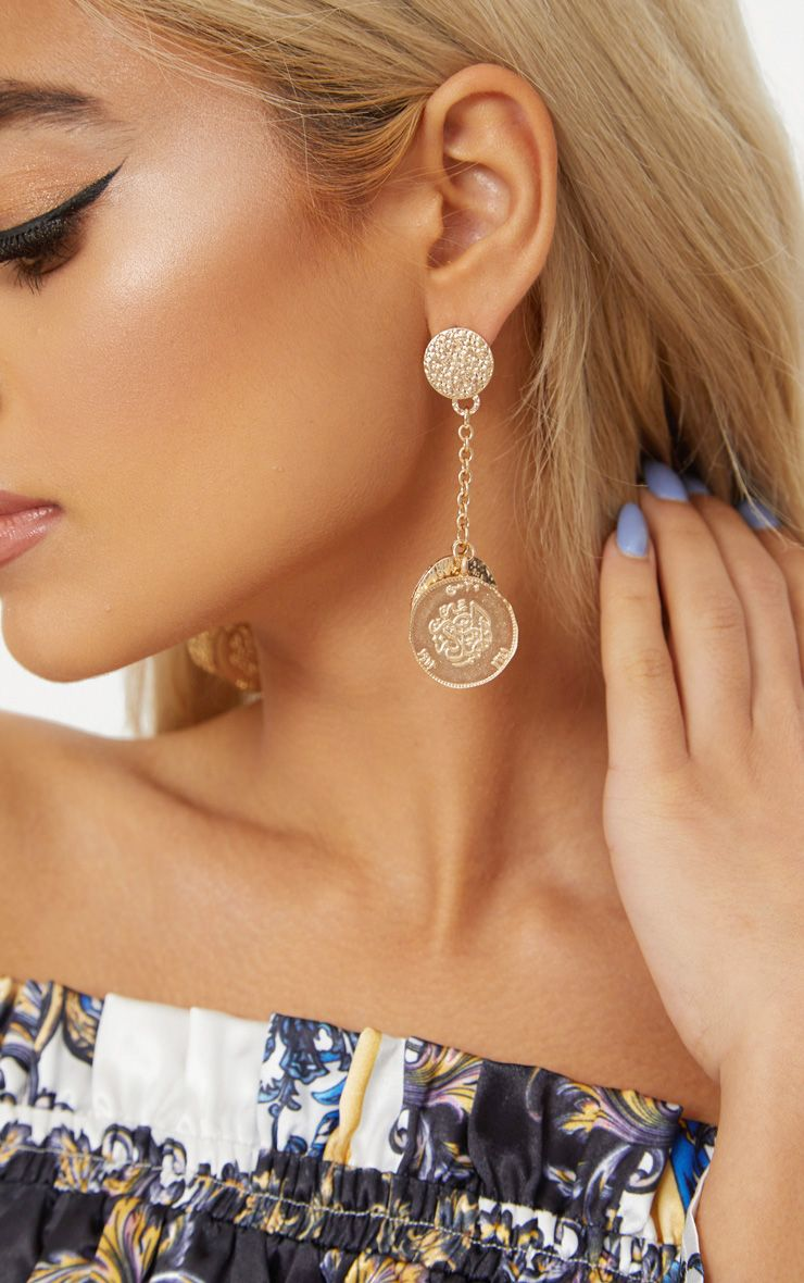 Gold Hammered Coin Drop Earrings 1