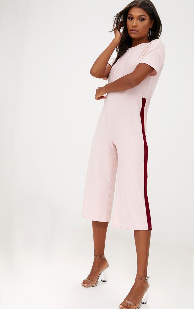 Pink Contrast Cullotte Jumpsuit