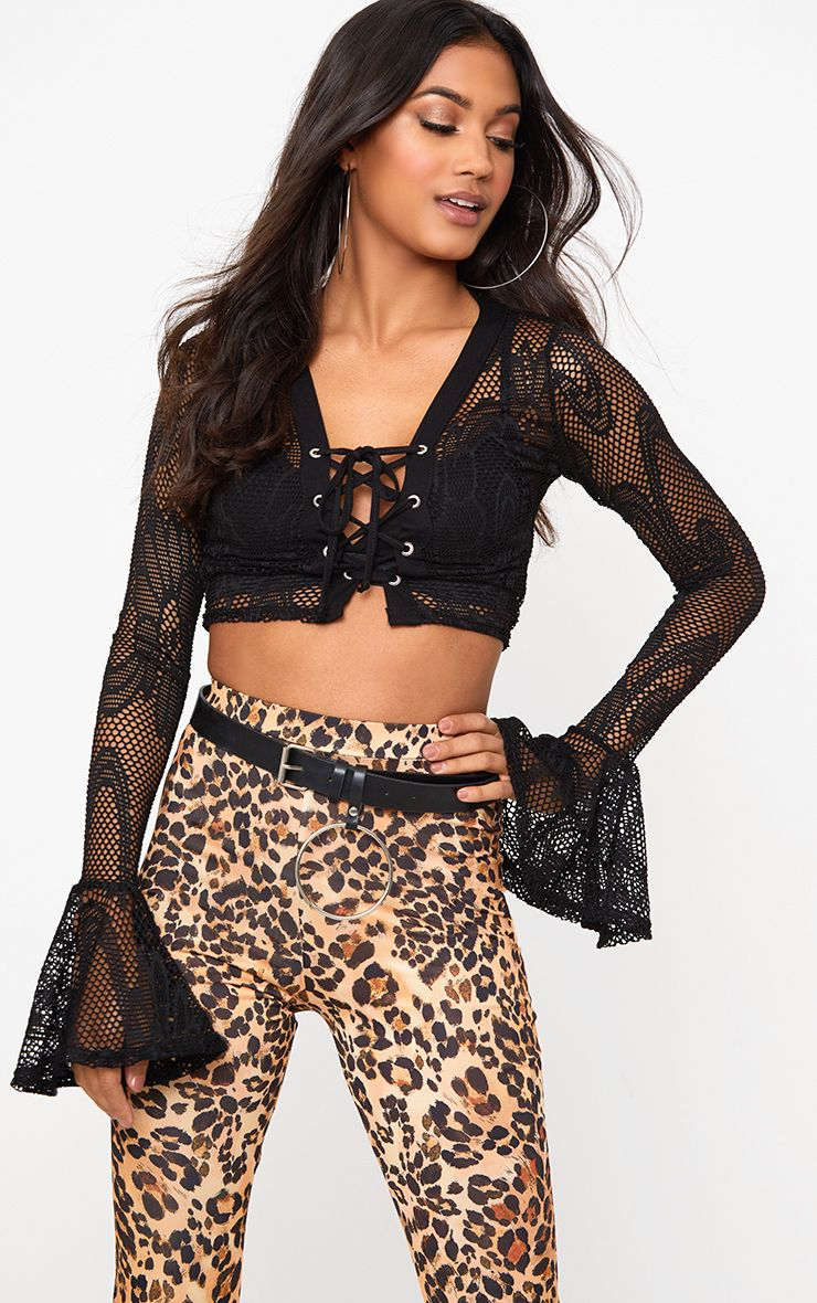 Black Fishnet Lace Up Flare Sleeve Crop Top