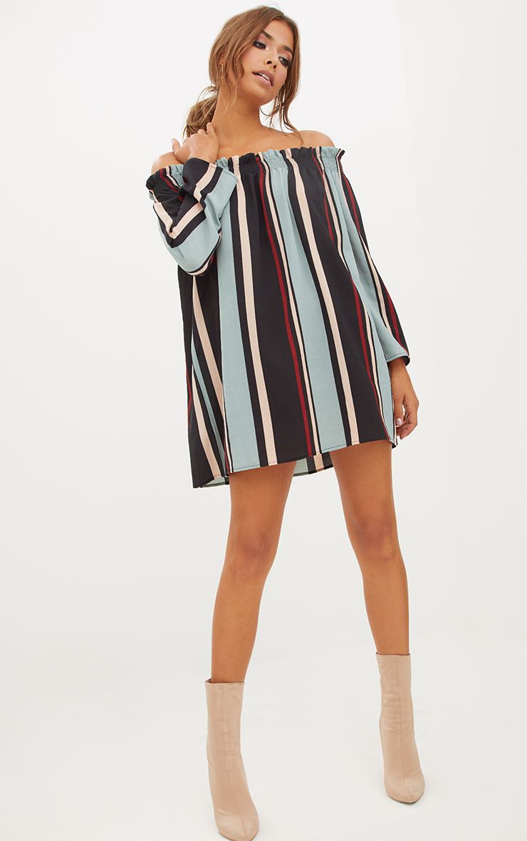 Stripe Long Sleeve Bardot Shift Dress