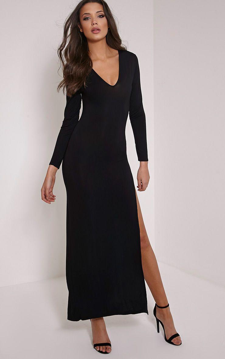 Basic Black V Neck Maxi Dress 1
