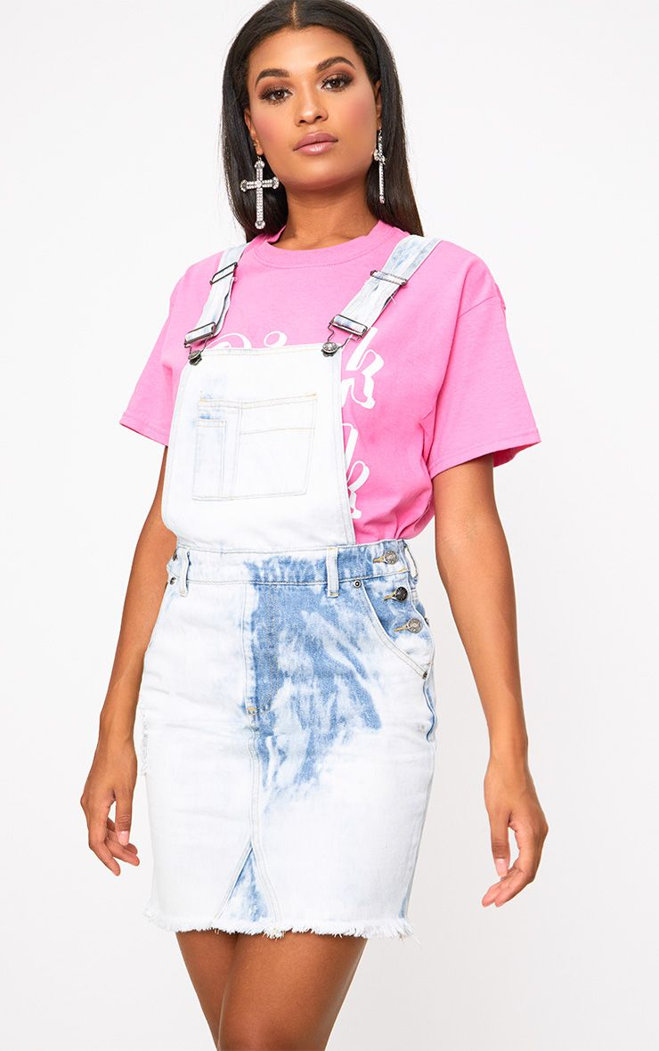 Lulae Bleach Wash Denim Dungaree Skirt
