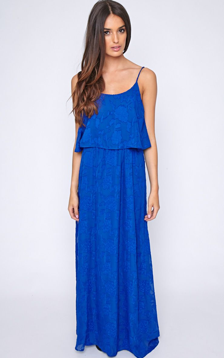 Cosima Cobalt Frill Front Maxi Dress 1