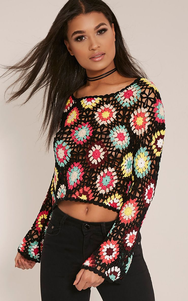 Anthia Black Patchwork Bell Sleeve Crochet Knitted Top 1