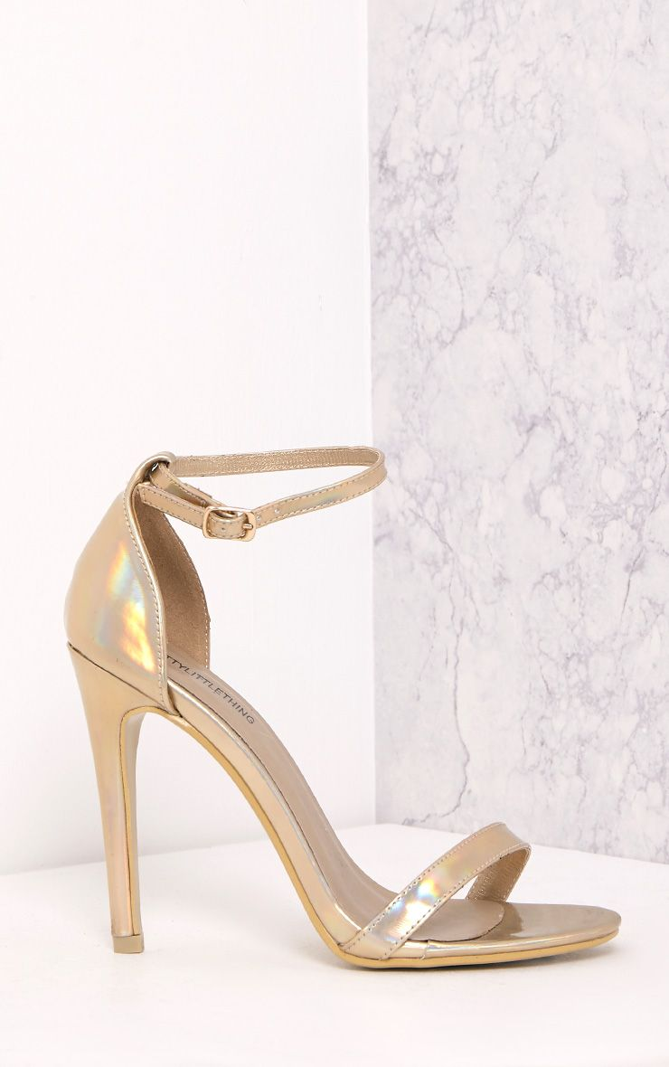 Clover Gold Holographic Strap Heeled Sandals 1