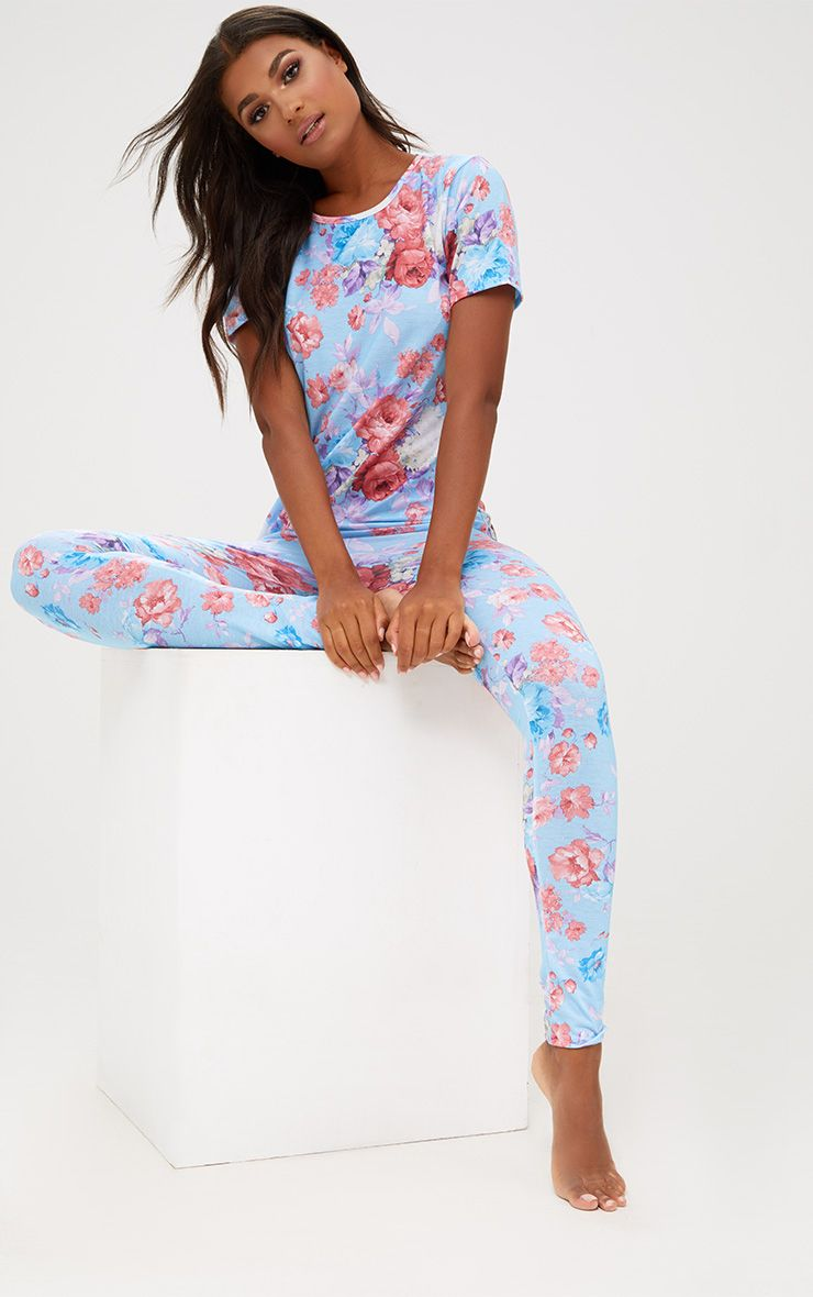 Blue Floral Long PJ Set