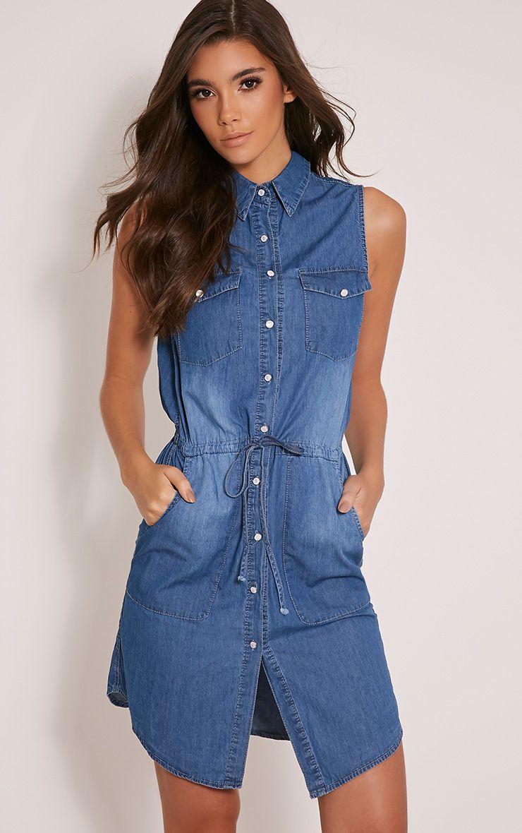 Pamina Blue Light Wash Denim Tie Waist Shirt Dress 1