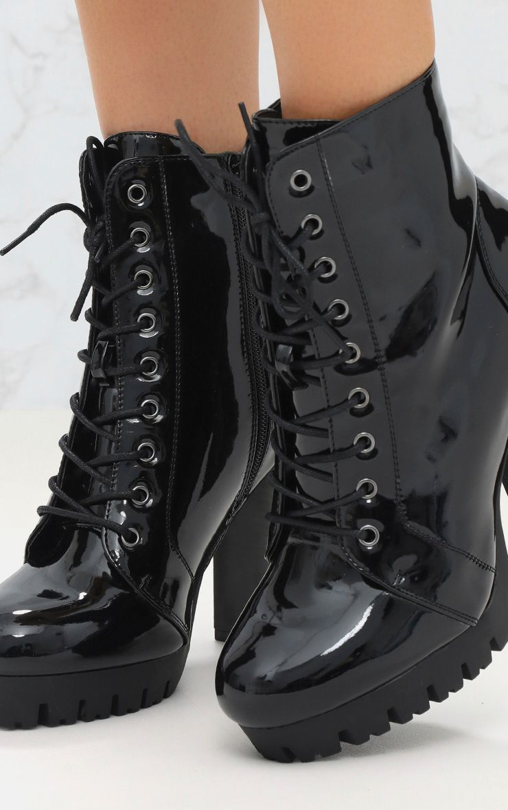 Black High Shine Lace Up Platform Boot Prettylittlething
