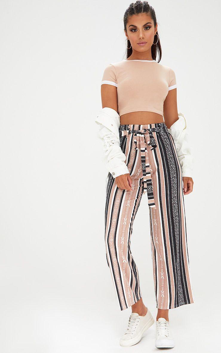 Camel Printed Stripe Longline Culottes