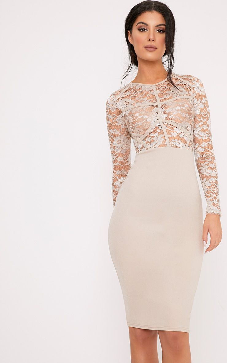 Aspen Nude Lace Contrast Midi Dress