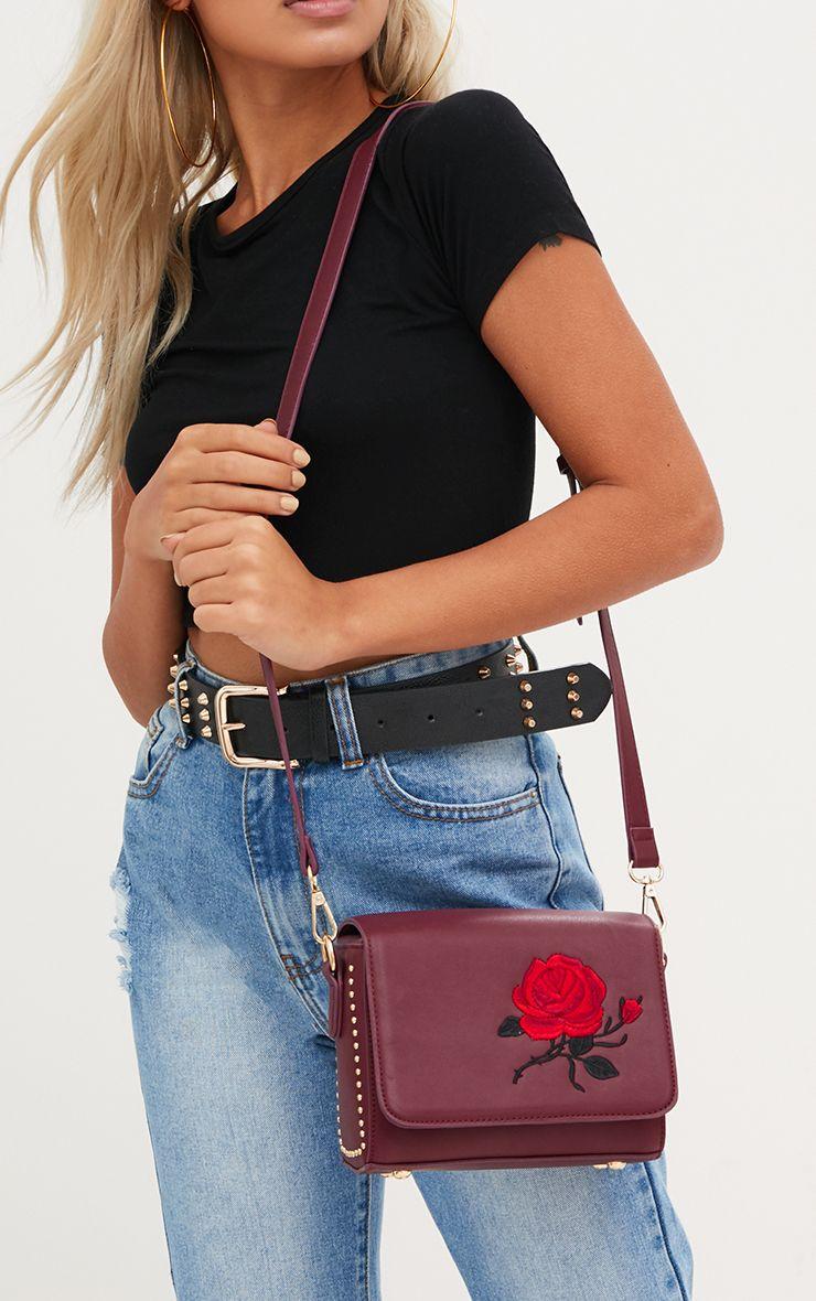 Burgundy Rose Embroidered Shoulder Bag