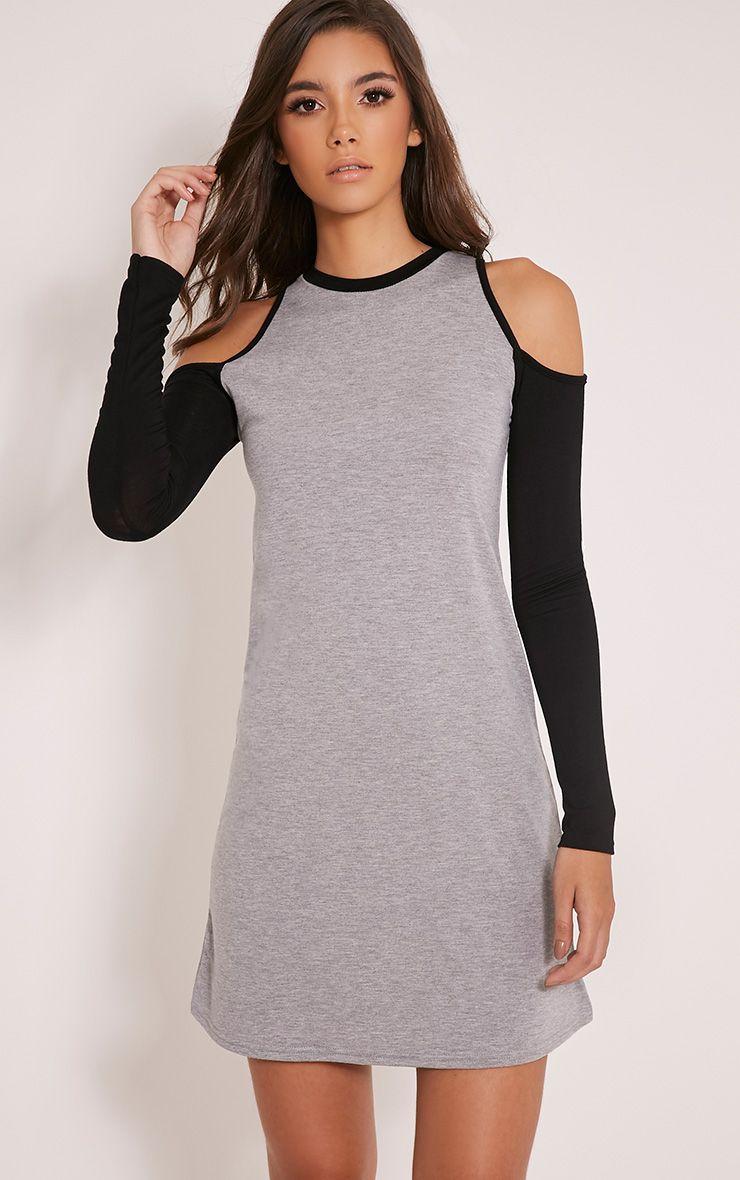 Chyna Grey Contrast Cold Shoulder T Shirt Dress 1