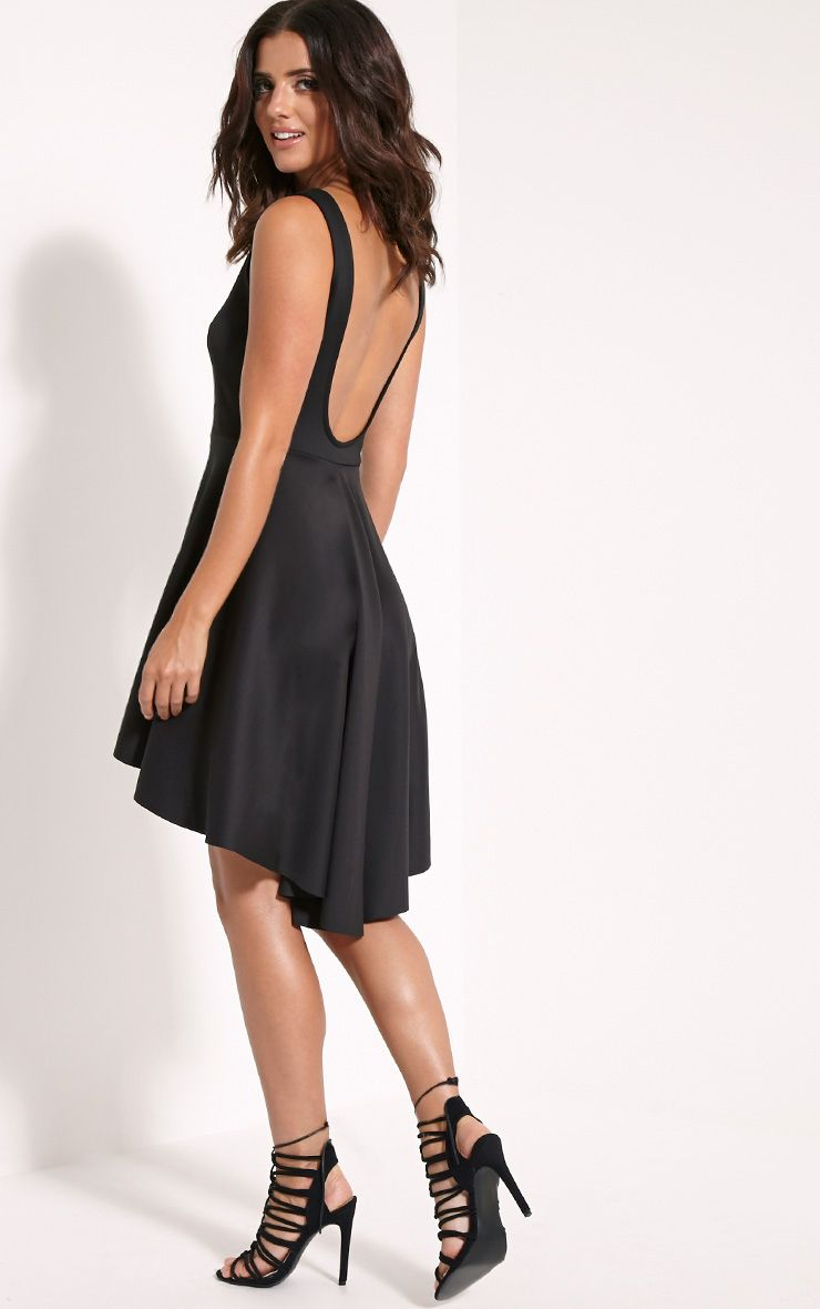 Leyla Black Drop Hem Backless Midi Dress 1
