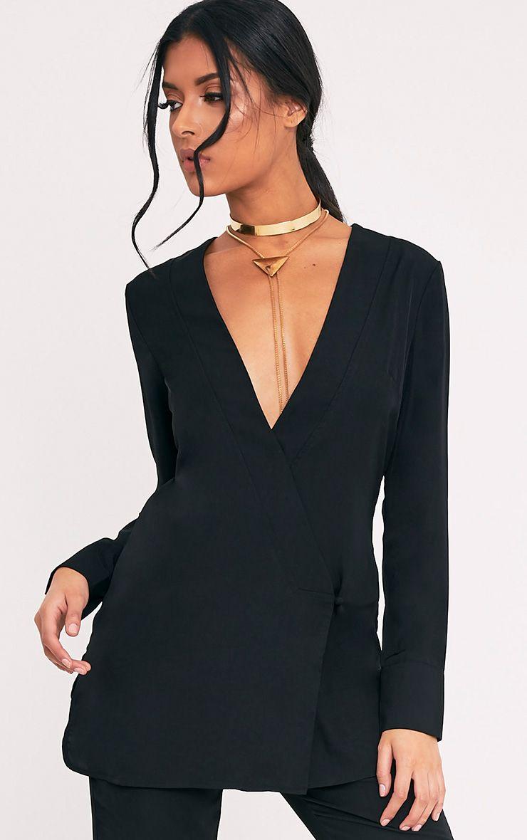 Adelene Black Oversized Blazer Top
