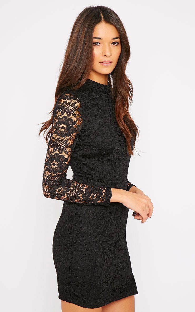 Amber Black Premium Lace Cut Out Back Dress 1