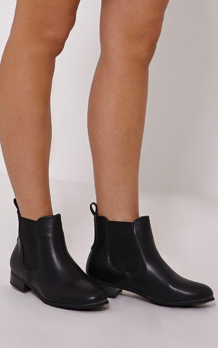 Kenley Black Faux Leather Chelsea Boots