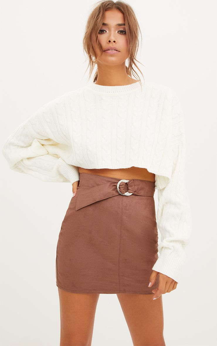 Brown Faux Suede Belted Mini Skirt